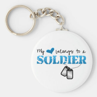 My Heart Belongs To A Soldier Keychain