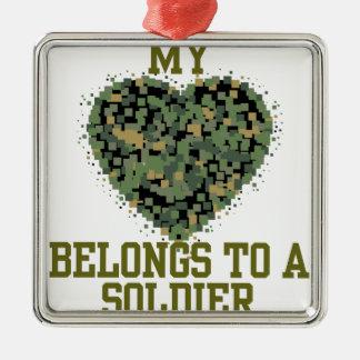 My Heart Belongs to a Soldier Metal Ornament