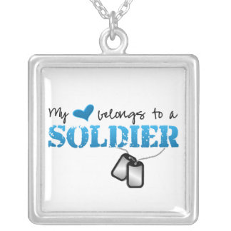 My Heart Belongs To A Soldier Square Pendant Necklace