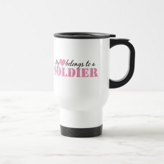 My Heart Belongs To a Soldier Travel Mug