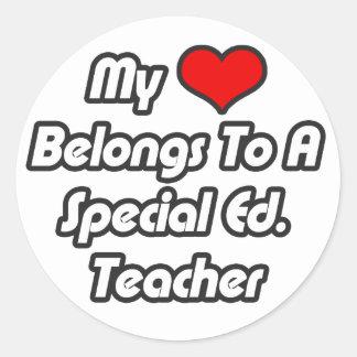 My Heart Belongs To A Special Ed. Teacher Classic Round Sticker
