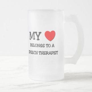 My Heart Belongs To A SPEECH THERAPIST Frosted Glass Beer Mug