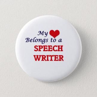 My heart belongs to a Speech Writer Pinback Button
