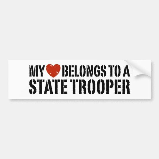 My Heart Belongs To A State Trooper Bumper Sticker