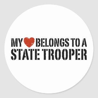 My Heart Belongs To A State Trooper Classic Round Sticker