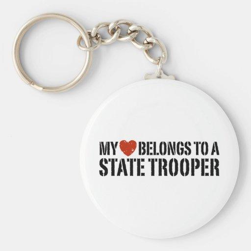 My Heart Belongs To A State Trooper Keychain