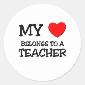 My Heart Belongs To A TEACHER Classic Round Sticker