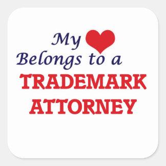 My heart belongs to a Trademark Attorney Square Sticker