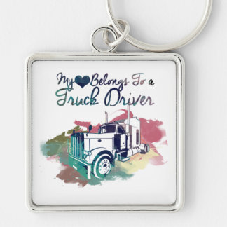 My Heart Belongs To a Truck Driver Keychain