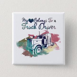 My Heart Belongs To a Truck Driver Pinback Button