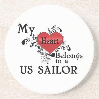 My Heart Belongs to a US Sailor Drink Coaster