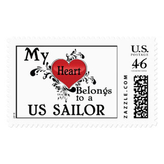 My Heart Belongs to a US Sailor Postage Stamps
