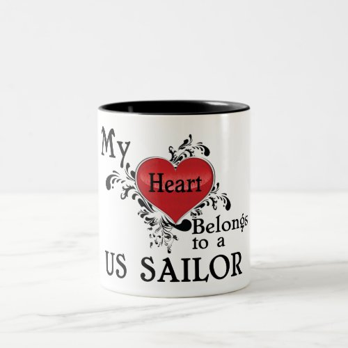 My Heart Belongs to a US Sailor Two-Tone Coffee Mug