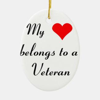 """""""My Heart Belongs to a Veteran"""" Ceramic Ornament"""