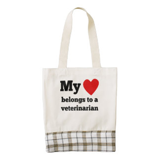 My Heart Belongs To A Veterinarian Zazzle HEART Tote Bag