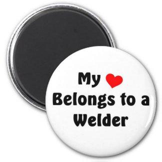 My heart belongs to a Welder 2 Inch Round Magnet