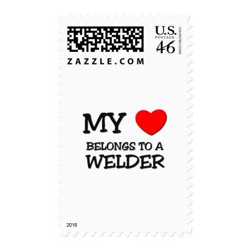 My Heart Belongs To A WELDER Postage Stamp