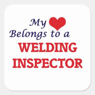 My heart belongs to a Welding Inspector Square Sticker