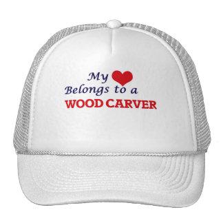 My heart belongs to a Wood Carver Trucker Hat