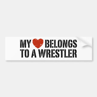 My Heart Belongs To A Wrestler Bumper Sticker