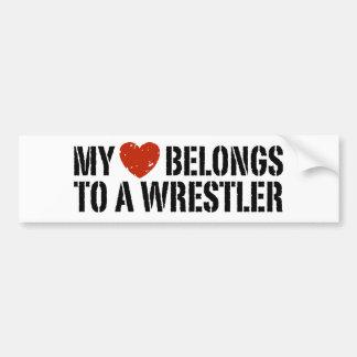 My Heart Belongs To A Wrestler Bumper Sticker