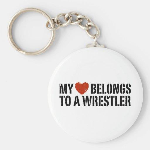 My Heart Belongs To A Wrestler Keychain