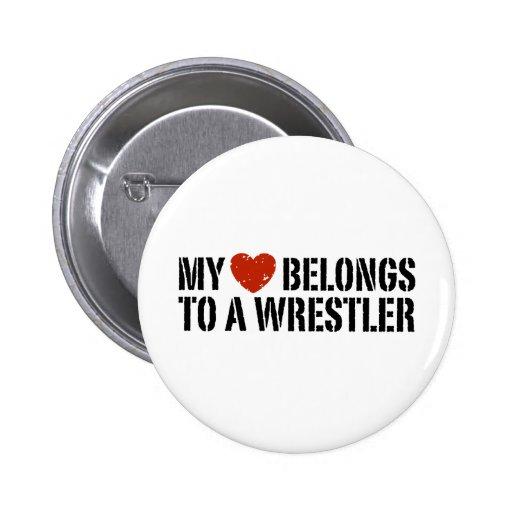 My Heart Belongs To A Wrestler Pin