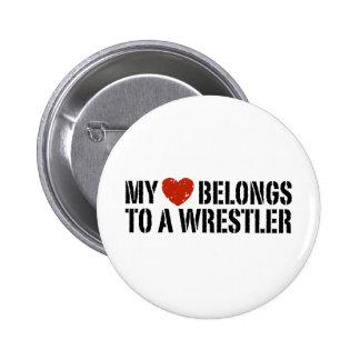 My Heart Belongs To A Wrestler Pinback Button