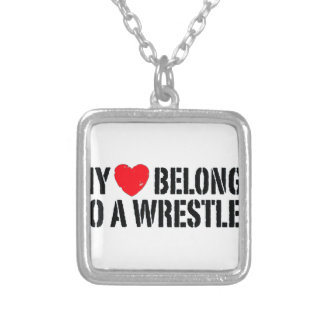 My Heart Belongs To A Wrestler Silver Plated Necklace