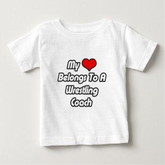 My Heart Belongs To A Wrestling Coach Baby T-Shirt