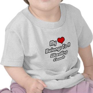 My Heart Belongs To A Wrestling Coach T-shirts