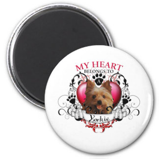 My Heart Belongs to a Yorkie 2 Inch Round Magnet