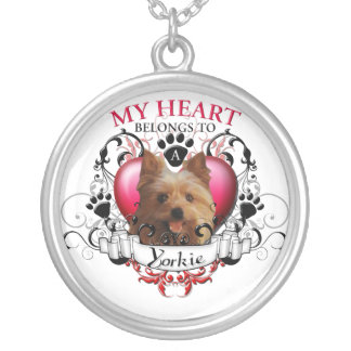 My Heart Belongs to a Yorkie Round Pendant Necklace