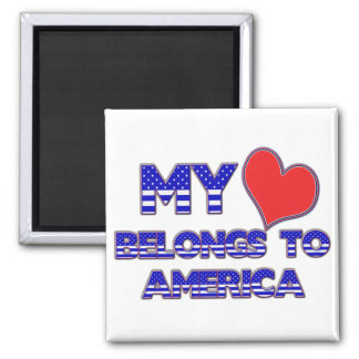 My Heart Belongs To America 2 Inch Square Magnet