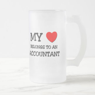 My Heart Belongs To An ACCOUNTANT Frosted Glass Beer Mug