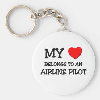 My Heart Belongs To An AIRLINE PILOT Keychain