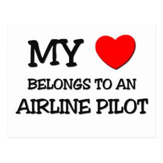 My Heart Belongs To An AIRLINE PILOT Postcards