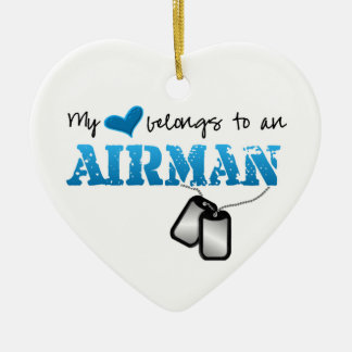 My Heart Belongs to an Airman Double-Sided Heart Ceramic Christmas Ornament