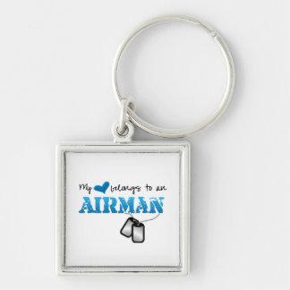 My Heart Belongs to an Airman Keychain