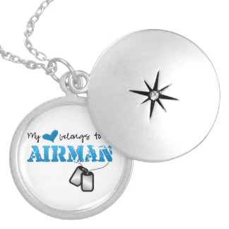My Heart Belongs to an Airman Silver Plated Necklace