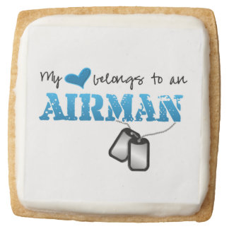 My Heart Belongs to an Airman Square Shortbread Cookie