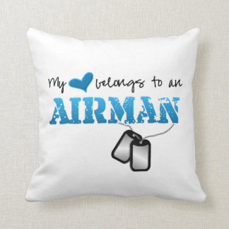 My Heart Belongs to an Airman Throw Pillow