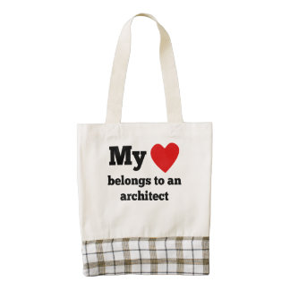 My Heart Belongs To An Architect Zazzle HEART Tote Bag