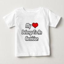 My Heart Belongs To An Electrician Baby T-Shirt