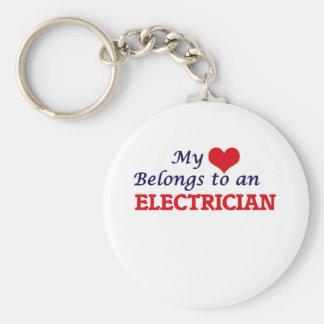 My Heart Belongs to an Electrician Keychain