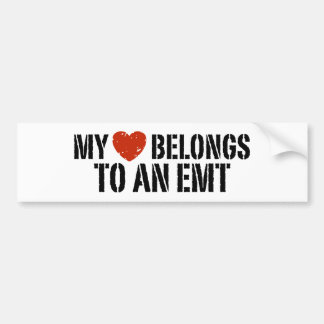 My Heart Belongs To An EMT Bumper Sticker