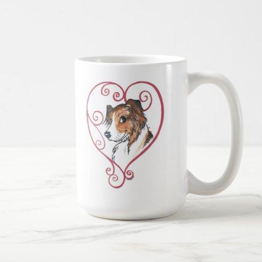 My heart belongs to an English Shepherd Coffee Mugs