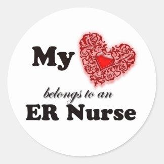 My Heart Belongs To An ER Nurse Classic Round Sticker