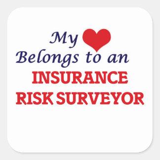 My Heart Belongs to an Insurance Risk Surveyor Square Sticker