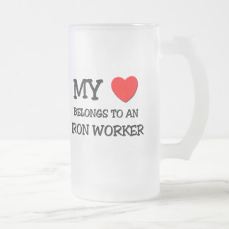 My Heart Belongs To An IRON WORKER Frosted Glass Beer Mug